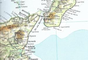 Lage des geplanten Brückenprojektes bei Messina