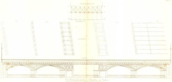 Vorgängerbrücke der Weidendammer Brücke als Stich/ Plankammer Breslau