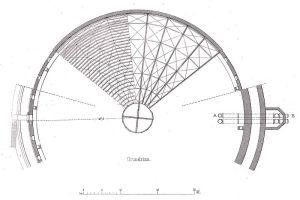 Grundriss der Kuppel des Fichtebunkers in Berlin gefunden bei Wikipedia (public domain, copyright expired)