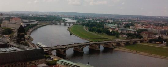 Blick auf die Augustusbrücke von oben