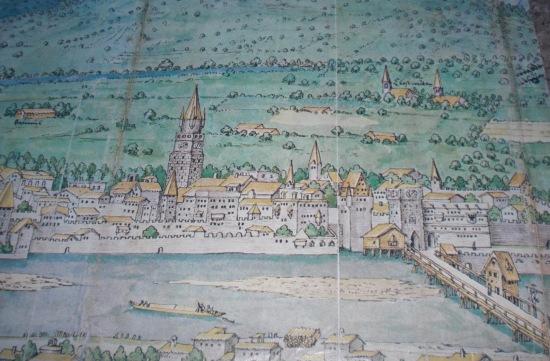 Historische Holzbrücke auf einer historischen Darstellung (präsentiert beim Stadtrundgang)