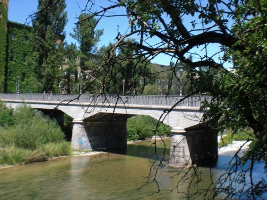 Zenneckbrücke-Blick vom östlichen Ufer der kleinen Isar