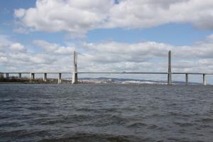 Ansicht der Schrägseilbrücke